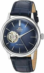NEW Orient 'Bambino Open Heart' Automatic Blue Leather Men's Dress Watch
