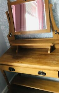 Antique Pine Dressing Table With Mirror
