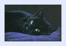 Black Cat Print A Minutes Rests by Irina Garmashova
