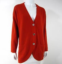 LUNA BY LEXIE 100% CASHMERE LONG SLEEVE POCKETS CARDIGAN SWEATER SIZE 1 CORAL