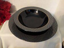 SANGO Fine China Japan BLACK MAGIC 1017 CHOP PLATE Platter and Vegetable Bowl