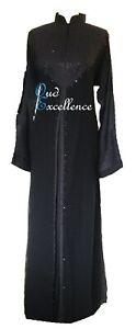 Chinese Collar Abaya in Black - Jilbab Batwing Kaftan Dress Kimono