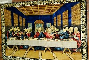 """The Last Supper 73""""L X 49""""W Tapestry Rug Good Condition Preowned"""