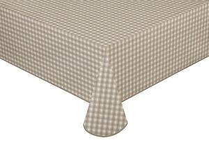 Wachstuch Tischdecke Mitteldecke Creme/Weiß kariert mit Paspelband versch.Größen