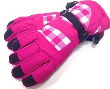 Ladies Snowboard Ski Snow Winter Gloves Insulated Plaid Pink Black NWT #71134