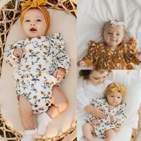 Toddler Baby Girls Long Sleeve Floral Printed Romper Infant Jumpsuit Clothes