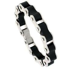 8 in. Stainless Steel Bicycle Chain Bracelet For Men w/ Black Rubber Accent