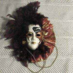 Red Gold And Purple Feather Handpainted Ceramic Mask