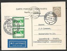 Luxembourg covers 1936 uprated Airmail PC Freiburg(Breisgau)