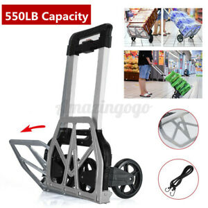 SETMAG 170 lbs Portable Durable Aluminium Baggage Cart Folding Dolly Push Truck Hand Collapsible Trolley Home Garage Shop Foldable Wheels Rolling