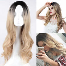 "22"" Long Real Women Wavy Hair Full Wig Black Root Blonde Ombre + Wigs Fashion"