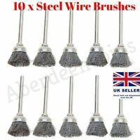 10 x 3mm Rotary Steel Wire Wheel Brush Cup Tool Rust Weld Dremel Rotary Drill