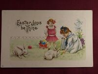 Easter Joys be Thine Vintage Postcard embossed white bunny rabbits young girls