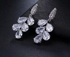 18k White Gold Earrings made w/ Swarovski Crystal Stone Dangle Drop Earrings