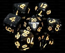NEW 7 Piece Polyhedral Dice Set - Onyx Dust Black Speckled - Black Dice Bag