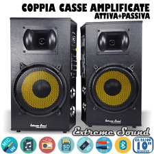 COPPIA CASSE AMPLIFICATE 1300 WATT USB Mp3 Bluetooth Radio FM KARAOKE CX-2S10U
