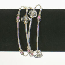 Memory Wire Bracelet - Clear Bugle Beads with Assorted Clear Beads