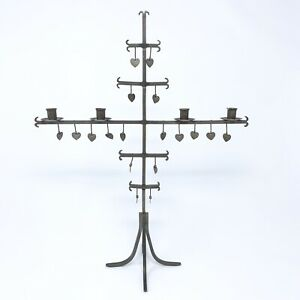 Vintage 1960 Sweden Steel Hearts Candelabra Hand Wrought Metal Candle Holder 16""