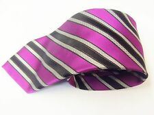 Black , Grey & Pink Stripe Design Made Italy Silk Mens Tie