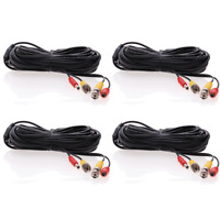 4 lot 100ft Security Camera Cable CCTV Video Power Wire BNC RCA Black Cord DVR