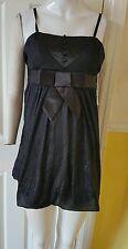 Womens Ladies Sleeveless Peplum Frill Skater black Mini Dress/Top  Size Medium