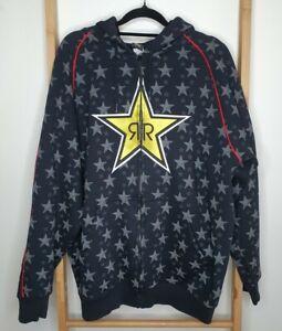 Rockstar Energy Drink Men's Zip Up Embroidered Jacket Hoodie Size M