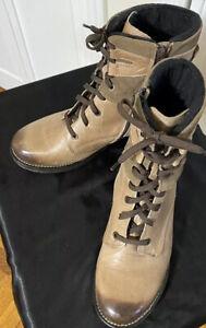 "Dromedaris ""Kara"" Women's Beige Leather/Suede Ankle Combat Side Zip Boots Sz 42"