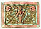 Antique Tibetan Coral Turquoise Inlay Prayer Box w Deity - Hinged Lid