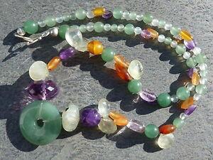 Necklace Silver 925, Prehnites, Cornelian, Aventurine, Amethyst