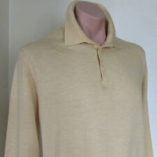 John Ashford.100% Merino Wool.Chic Polo Sweater Shirt.Light yellow.EUC! Sz:L/XL