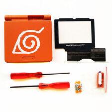 GBA SP Game Boy Advance SP Housing Shell GLASS Screen Lens Naruto Orange USA!