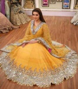 Indian Desginer Yellow Choli Lengha Embroidery Mirrors Bollywood Wedding Lehenga