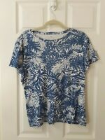 Talbots Size XL Extra Large Short Sleeve Blue & White Palm Leaves Cotton Top