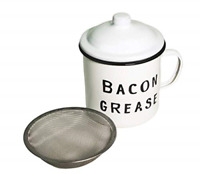 Bacon Grease Container with mesh strainer - rustic mid-century farmhouse design,