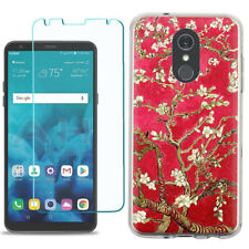 TPU Phone Case for LG Stylo 5 w/ Tempered Glass - Almond Blossom Red