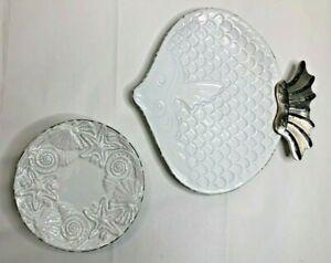 "mud pie 12"" Fish Platter & 8"" Plates Lot of 5 White Shell Relief Beach Coastal"
