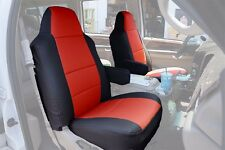 FORD F-250 350 2004-2010 BLACK/RED S.LEATHER CUSTOM MADE FIT FRONT SEAT COVER