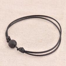 Vintage Black Lava Stone Rock Beads Essential Oil Diffuser Leather Bracelet