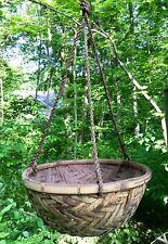 Vintage Wicker Wood Hanging Basket Flower Pot Holder Planter Mid Century Modern