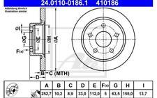 2x ATE Discos de Freno Traseros Pleno 252,7mm 24.0110-0186.1