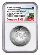Canada 180th Anv Baseball Domed 30.75 g Silver Proof $25 NGC PF70 UC ER SKU53017