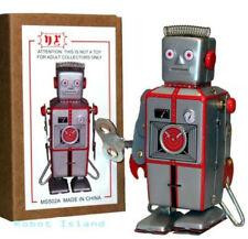 Clockwork Wind Up Metal Walking ROBOT Tin Toy Robot Easelback - USA Seller