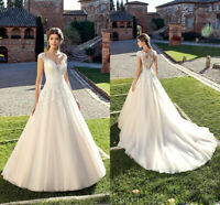 Cap Sleeves Wedding Dresses Bridal Ball Gown A-line White Ivory Lace Custom Made