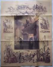 Berlin 1851 Die Berliner Feuerwehr im Einsatz Kolorierte Lithographie Graphik RP