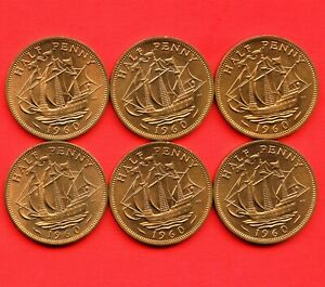 6 Of 1960 Great Britain Half Penny Coins