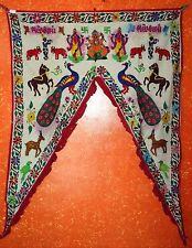Door Toran Tribal Window Decor Wall Hanging Vintage Valance Hand Embroidered