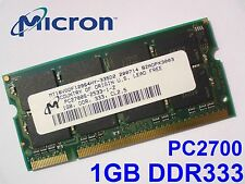 1GB PC2700 DDR333 CL2 CL2.5 MICRON 200 pin NOTEBOOK LAPTOP PORTATILE SODIMM RAM
