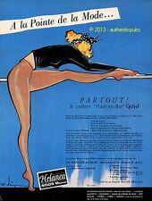 PUBLICITE HELANCA LINGERIE BAS NYLON MOUSSE DANSEUSE DE 1956 FRENCH AD SEXY PUB