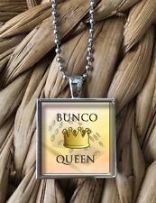 Bunco Queen Dice Club Women's Game Prize Glass Pendant Silver Chain Necklace NEW
