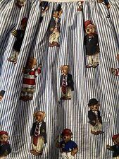 Ralph Lauren Polo Teddy Bear Blue Stripe Twin Dust Ruffle Bed Skirt